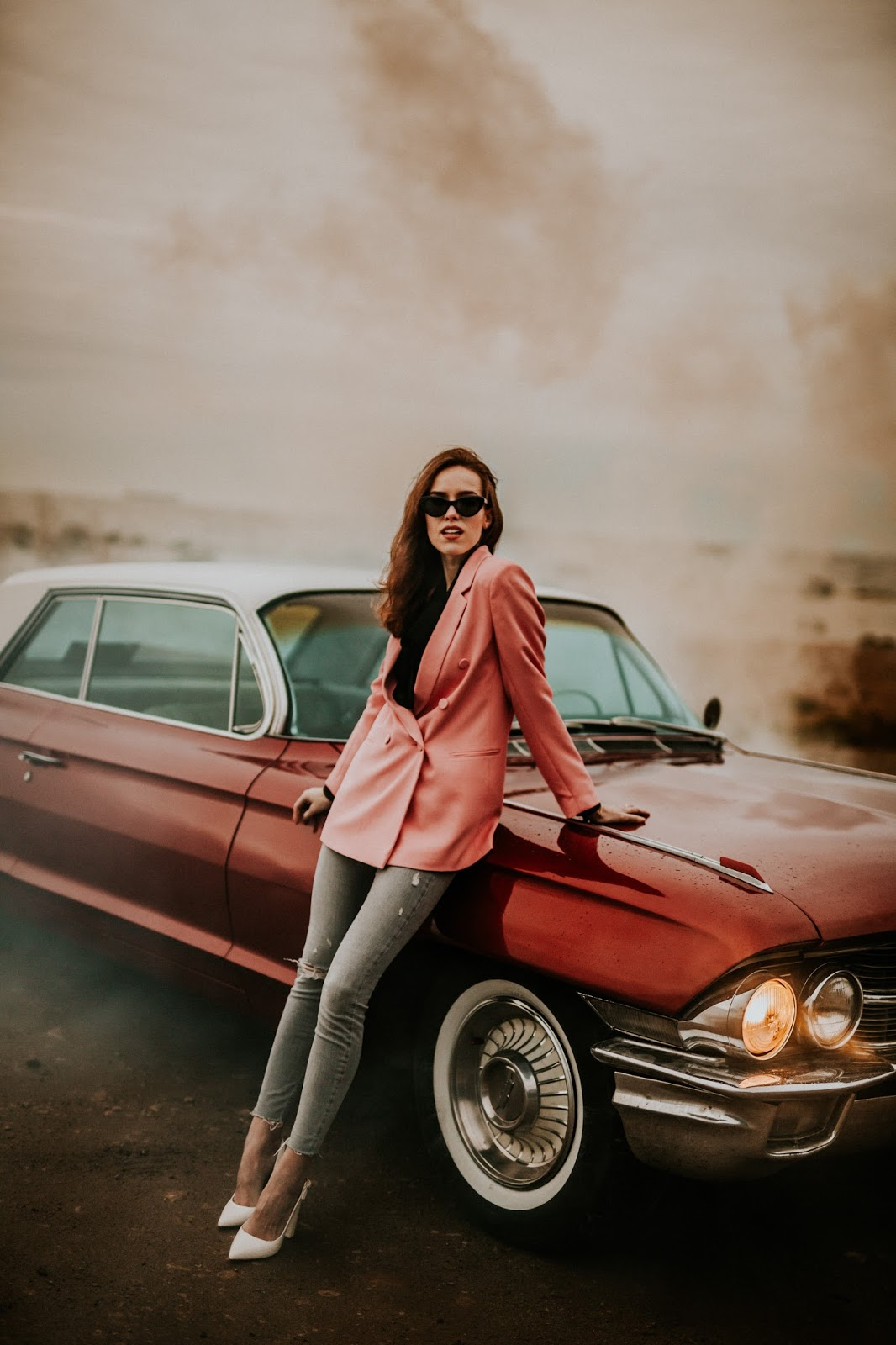 pink blazer girl red cadillac car photography