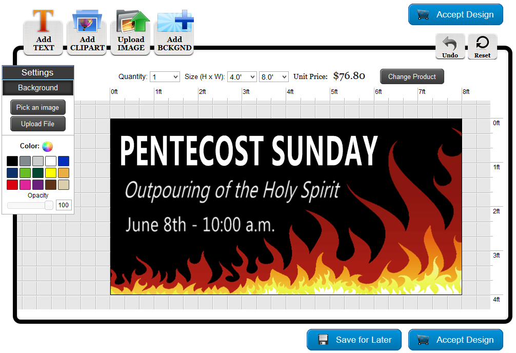 Pentecost Banner Template in the Online Designer | Banners.com