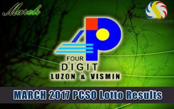 Results: March 2017 4-Digit PCSO Lotto