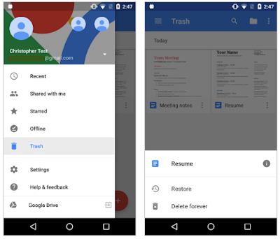 View deleted files with the latest Google Docs, Sheets, and Slides Android apps