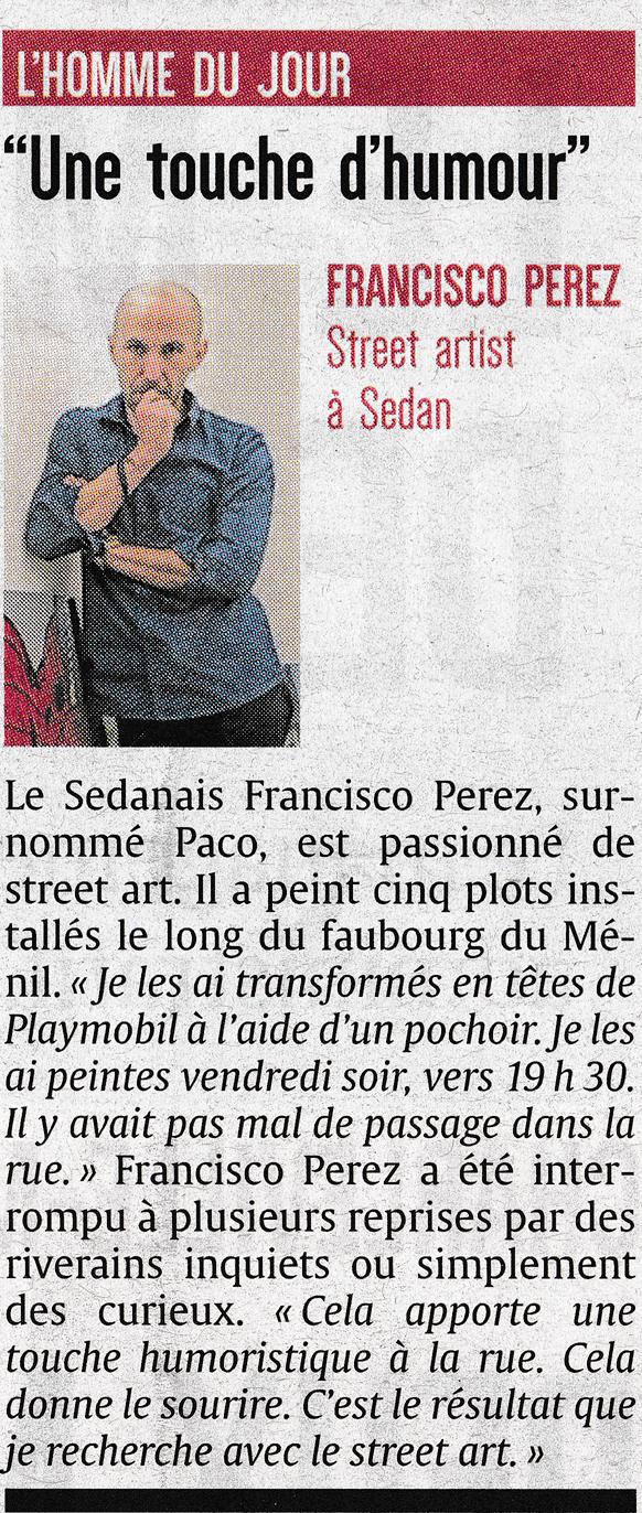Article de presse du journal l'ardennais sur paco street artiste Sedannais