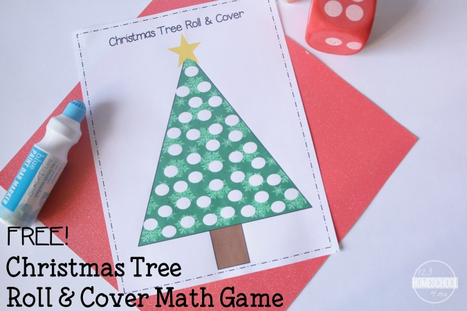 FREE Christmas Tree Math: Roll & Cover