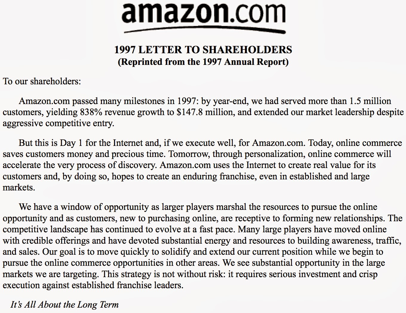 amazon letter to shareholders letter to shareholders letter to shareholders 10492 | amaz
