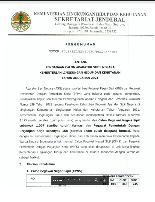 Lowongan CPNS Kementerian Lingkungan Hidup dan Kehutanan Tahun Anggaran 2021