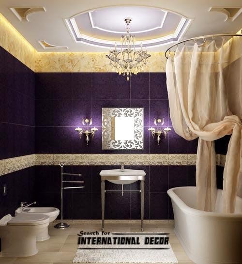 Luxury Italian Bathroom False Ceiling Design Led Lights Purple Tiles Shower Curtains