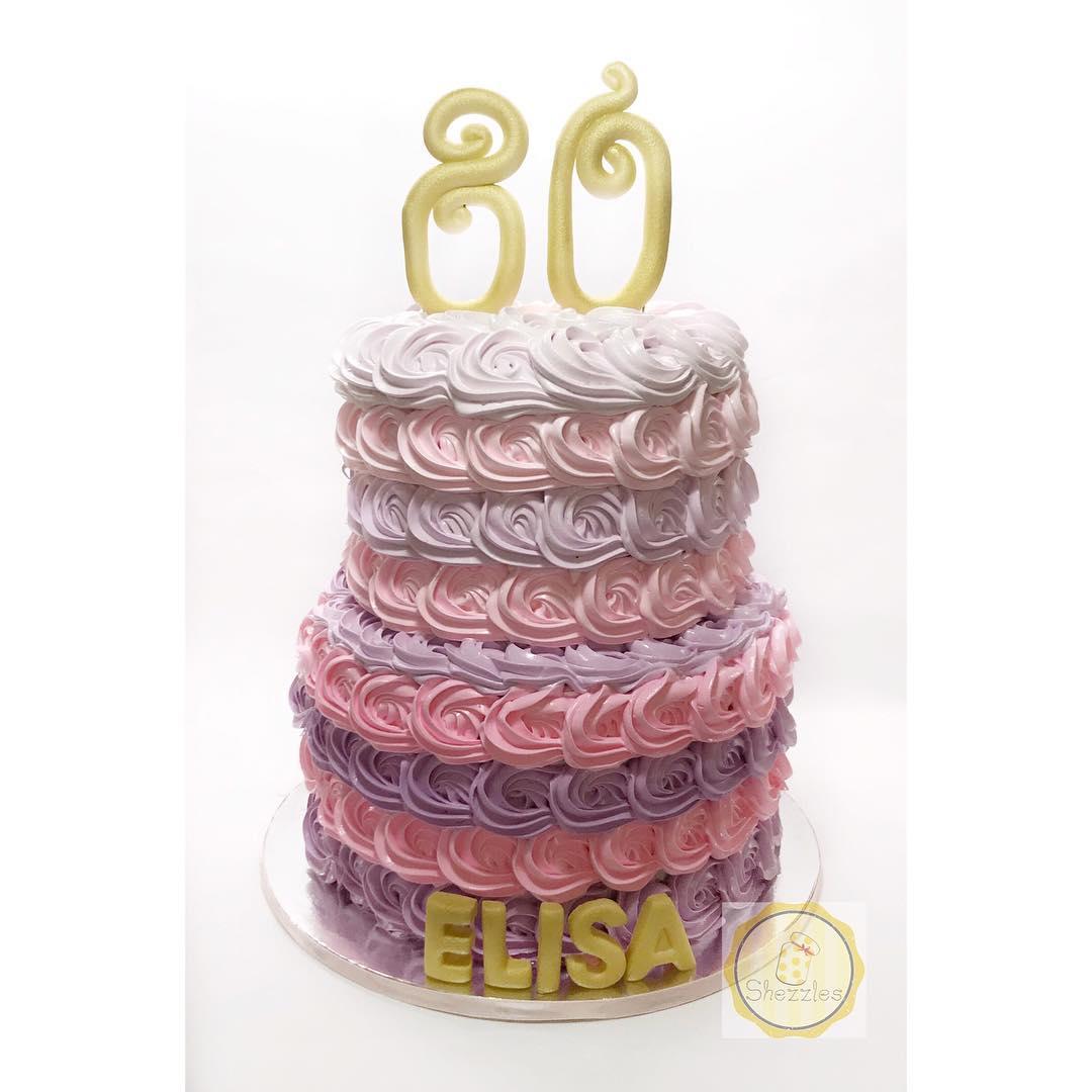 Shezzles Dessert In A Jar 2 Tier Rosette 80th Birthday Cake