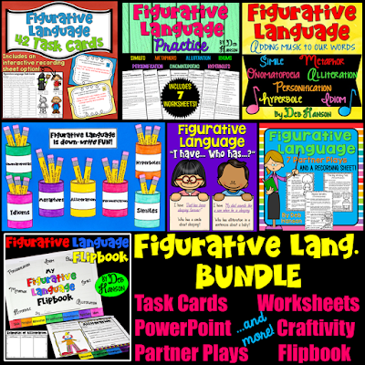 Figurative Language Activities for the upper elementary or middle school classroom! Includes a PowerPoint, games, craftivities, worksheets, partner plays, and more!!