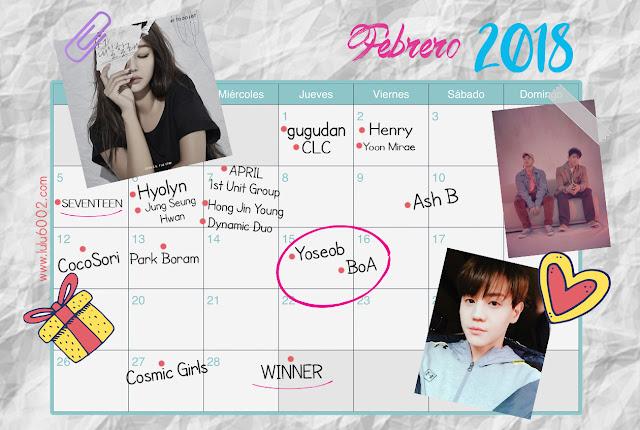 kpop calendario 2018
