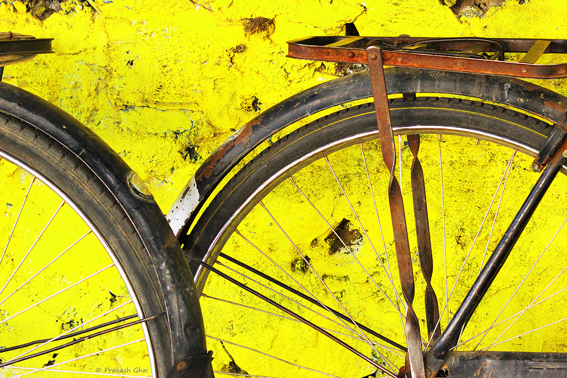 Tyres of two bicycles used as a subject for minimalist photography.