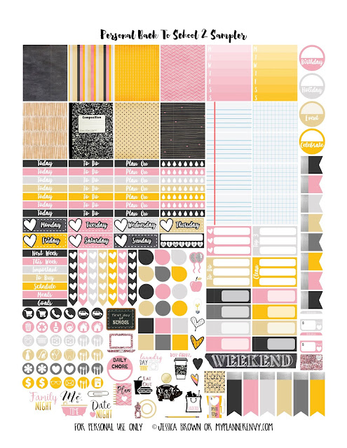 Back To School 2 Sampler for your Personal Planner on myplannerenvy.com