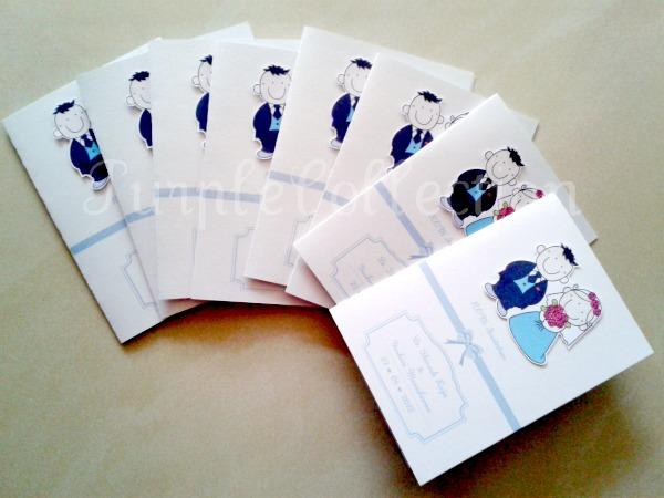 Cartoon Couple Wedding Invitation Card, cartoon wedding invitation card, white card, blue card, white and blue card, wedding cartoon invites, italy ice white, classic fold, cartoon couple card, wedding, invitation card