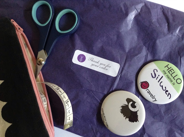 Knitting project bag, Ravelry badge, EYF badge