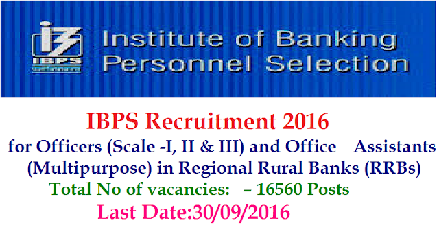 Institute of Banking Personnel Selection Common Recruitment Process for Recruitment of Officers (Scale-I, II & III) and Office Asistants (Multipurpose) in Regional Rural Banks (RRBs)|IBPS Recruitment 2016 RRBs-CWE-V – 16560 Posts|Apply online for IBPS Recruitment 2016 @ http://www.ibps.in/2016/09/Institute-banking-personnel-selection-common-recruitment-ibps-recruitment-2016-rrbs-cwe-v-16560-for-office-assistants-in-Regional-rural-banks-RRBs.html
