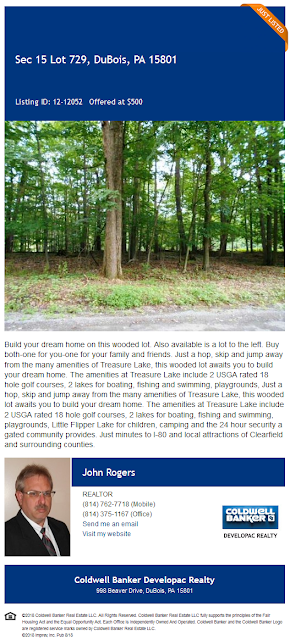 John Rogers Coldwell Banker Developac Realty Treasure Lake lot 729 Culebra Ct for sale
