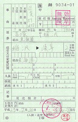 尾張一宮駅発行 区間変更券(乗越)(改札補充券)