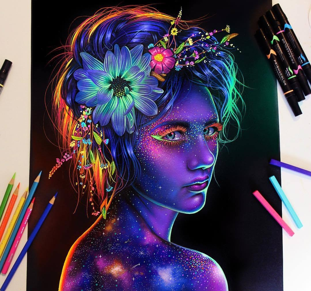 01-Glowing-Galactic-Girl-Glowing-Colorful-Drawings-Morgan-Davidson-www-designstack-co
