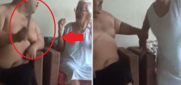 Filho agride mãe idosa e vídeo revolta internautas : 'Fica calada ou vai internada'