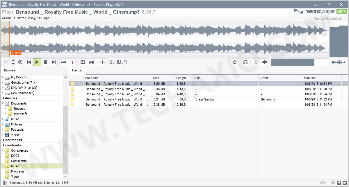 Resonic Player Screenshot