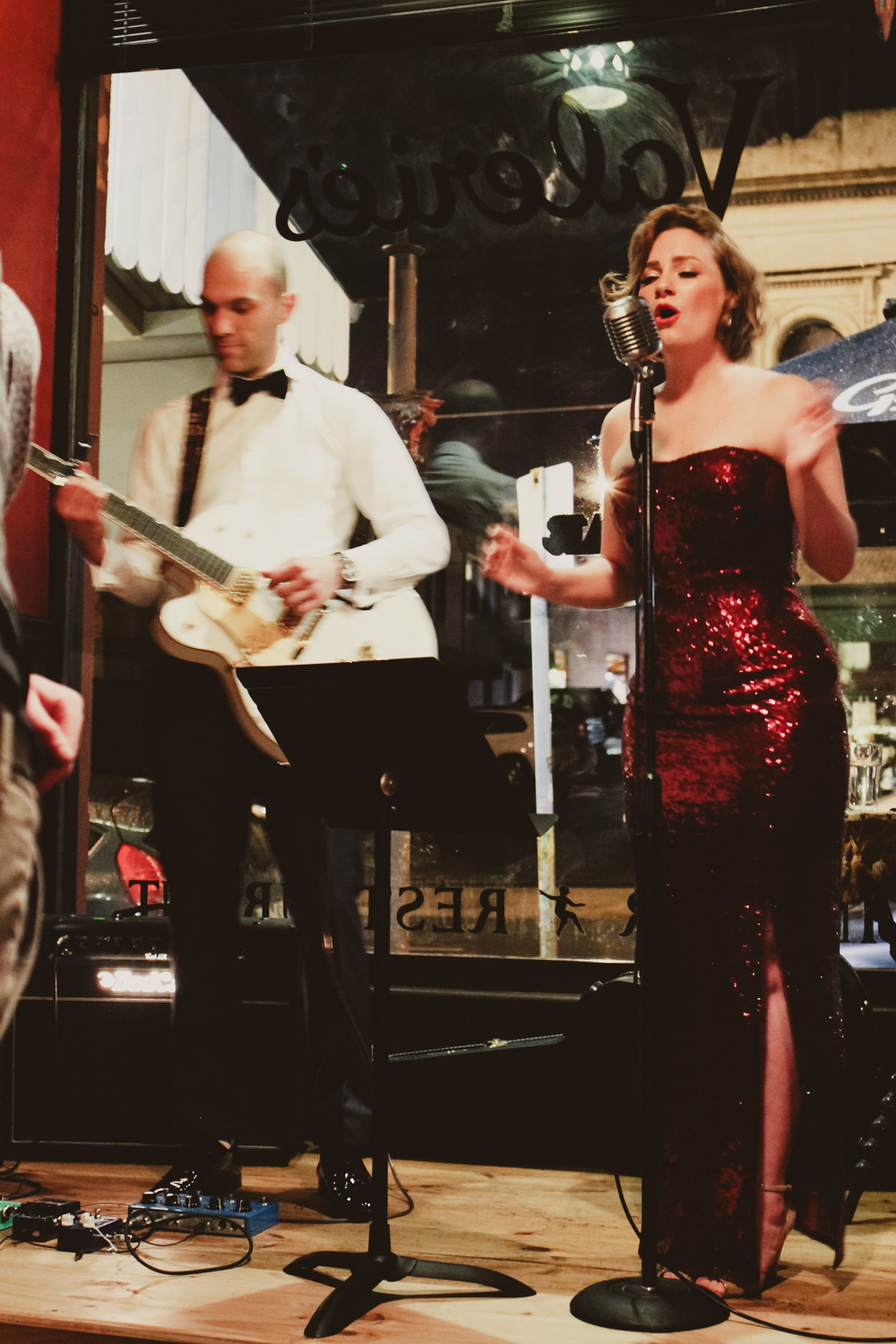 @findingfemme in ASOS red sequin maxi dress performing in Liana and the Petite Mort in Ballarat