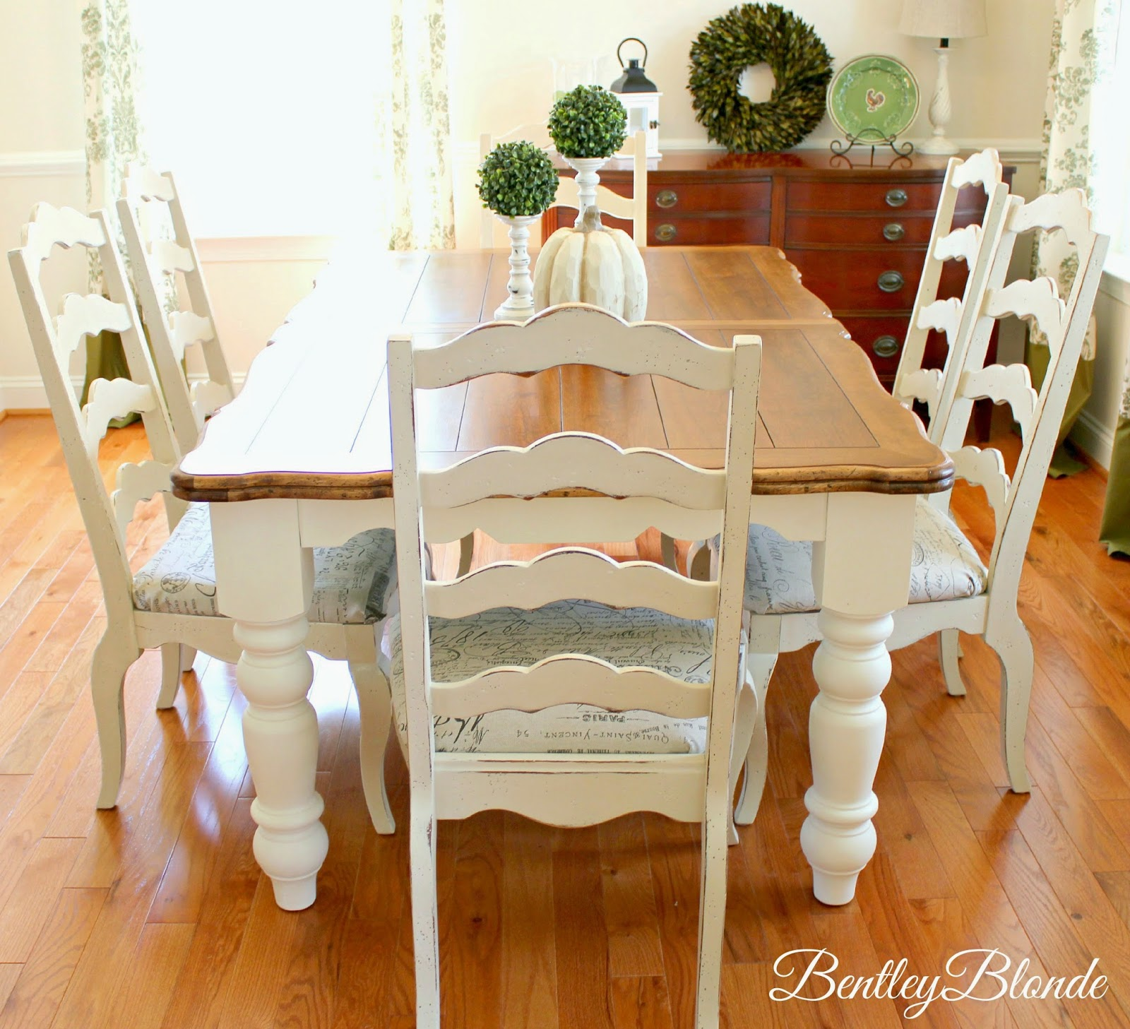 white farmhouse kitchen table and chairs used captain for boats bentleyblonde diy dining set makeover