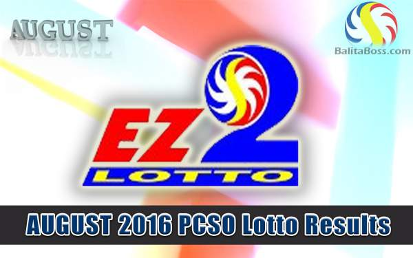 August 2016 EZ2 PCSO Lotto Results
