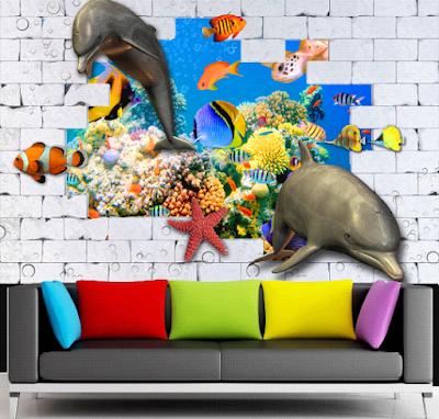 wallpaper dinding motif lumba-lumba 3d
