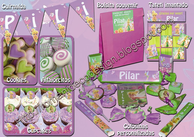 Candy Bar de Tinkerbell con Golosinas personalizadas
