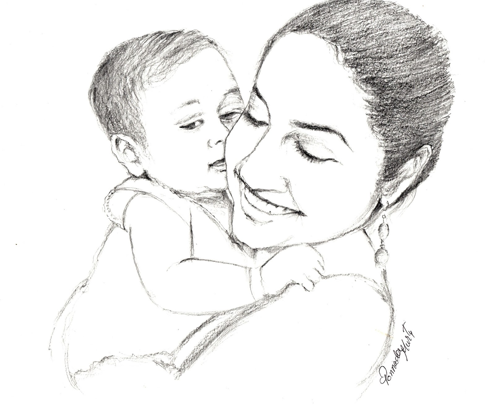 Sketches and Drawings : Mother and baby - pencil sketch