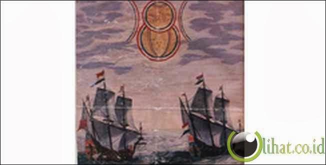 Kapal Belanda Melihat UFO - Lukisan 1660