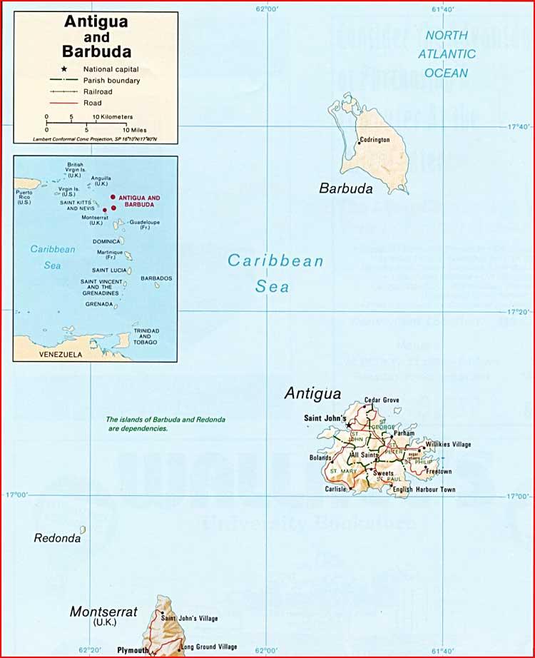 Gambar Peta politik Antigua dan Barbuda