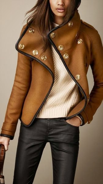 Burberry leather trim blanket wrap jacket fashion