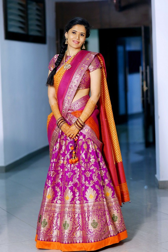 Gorgeous Girl in Pink Benaras Half Saree