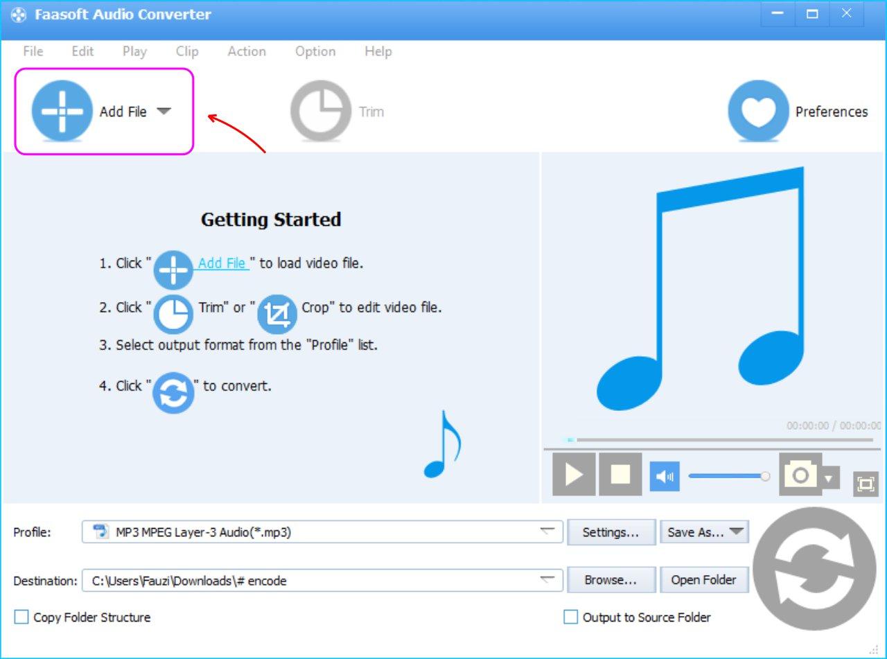Faasoft Audio Converter - Tambahkan File Kedalam List Converter