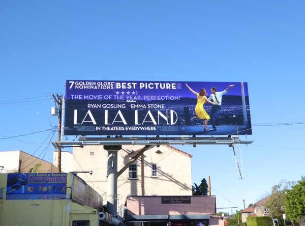 La la Land Golden Globes billboard