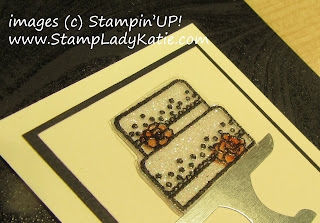 "Close up of the cake image from Stampin'UP!'s ""Piece of Cake"" stamp set, stamped on acetate and layered over glimmer paper by StampLadykatie"