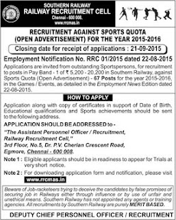 Applications are invited for 67 Sports Quota Posts