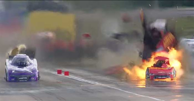 NHRA drag racer hits 331 mph record, bursts into flames crossing finishing line