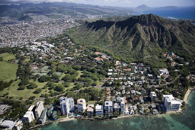 Landscape of Town, Forest and  Hawaii Mountain