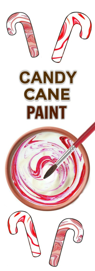 2-INGREDIENT CANDY CANE PAINT- this paint is easy to make and can be used for all sorts of arts & crafts!  It smells just like Christmas, too! #candycanepaint #christmascraftsforkids