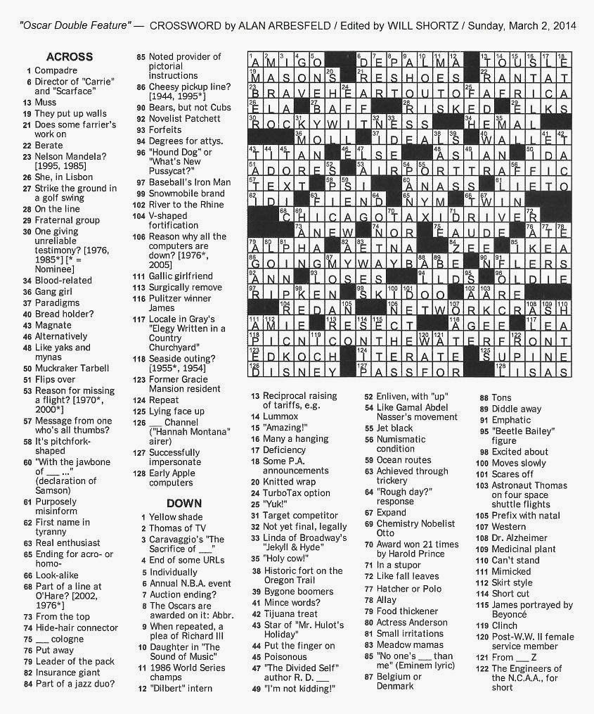 The New York Times Crossword In Gothic Page 20 Chan 8437994
