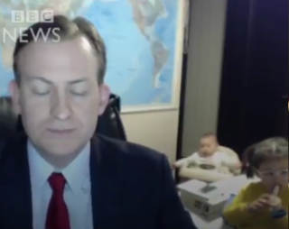 Video: Hilarious moment a man is getting interviewed on live TV and his children interrupt