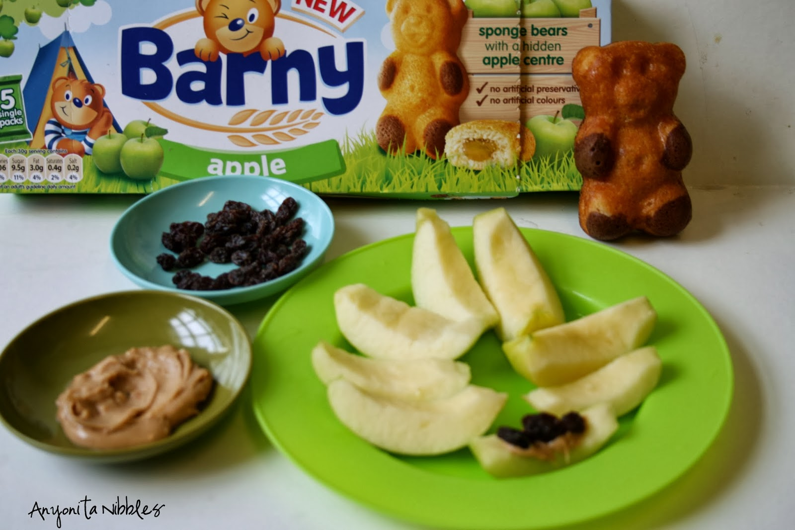 Apple Ants on a Log and Barny bear snack #littleadventures