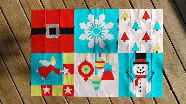 "First six blocks of ""I Wish You a Merry Quilt Along"""