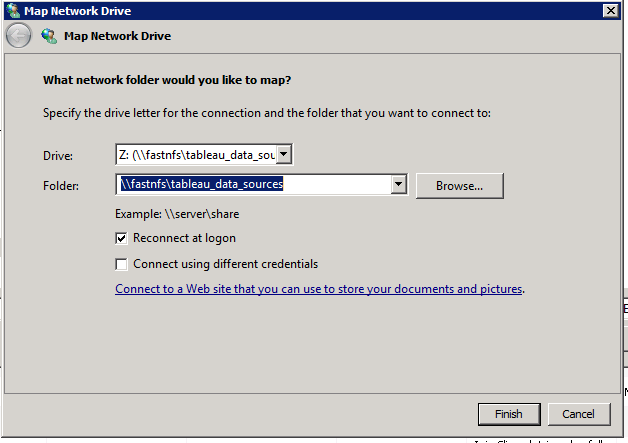 Don't use network drives with Tableau, use Network Locations