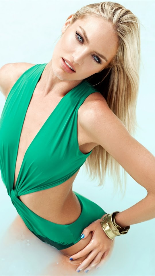Candice Swanepoel Green Swimsuit   Galaxy Note HD Wallpaper