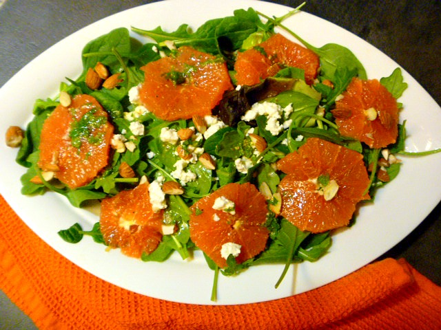 Orange Salad with Arugula and Spinach - Using fresh in season oranges!  Slice of Southern