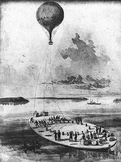 Observation balloon launched from coal barge.