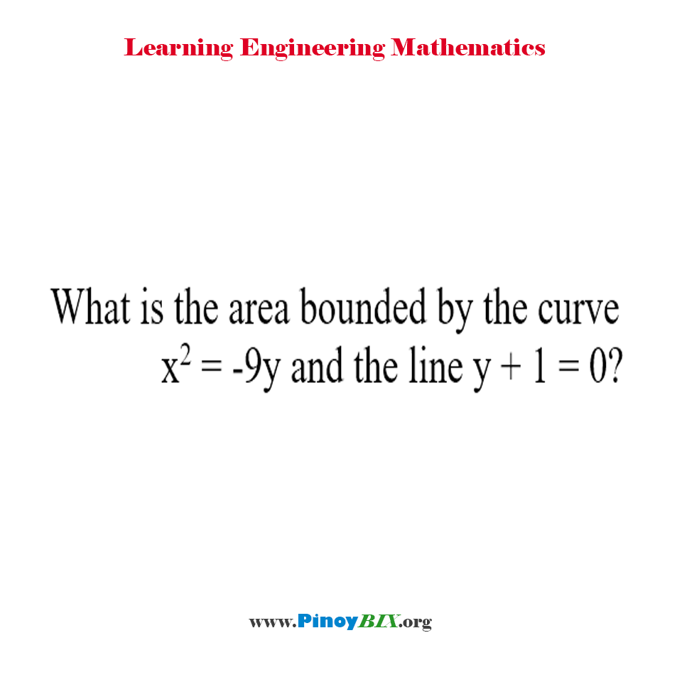 What is the area bounded by the curve x^2 = -9y and the line y + 1 = 0?