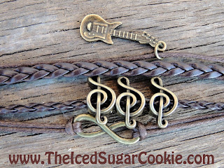 Guitar Music Notes Infinity Sign Leather Bracelet by The Iced Sugar Cookie