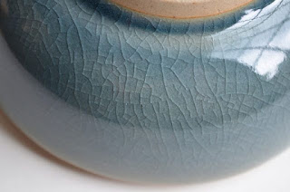 Celadon Ceramic Box from Dogwood Hill Gifts,  glaze detail